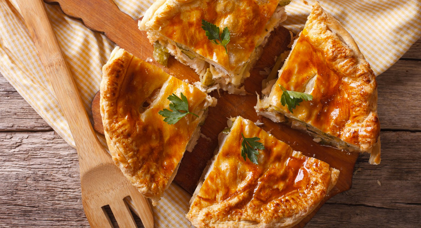 Opções de marmitas torta de frango com alho poró Clube do Diabetes